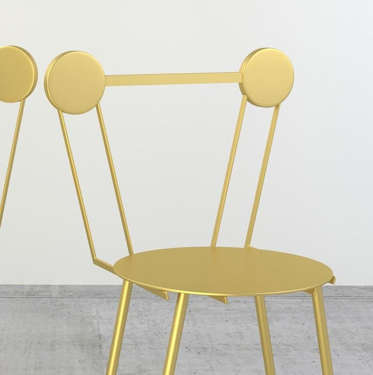 Set of Two Haly Gold Chair by Chapel Petrassi In New Condition For Sale In Milan, IT