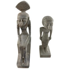 Set of Two Hand Carved Egyptian Stylized Stone Dieties/Figurines