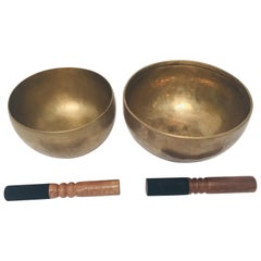 Set of Two Hand-Hammered Brass Singing Bowls