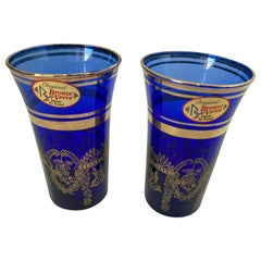 Set of Two Handblown Italian Moorish Royal Blue and Gold Shot Glasses