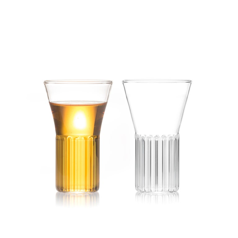 Inspired by the Rila Monestary, the Rila collection is a series of glassware ideal for beverages from wine and water to martinis and other beverages. Modern and strikingly simple in form, the Rila Small glasses will heighten the atmosphere of any