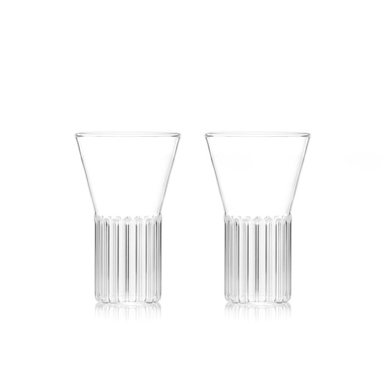 Modern Set of Two Handcrafted Clear Contemporary Rila Small Glasses by Felicia Ferrone For Sale