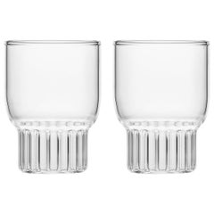 Set of Two Handcrafted Czech Clear Contemporary Rasori Mini Glasses, in Stock
