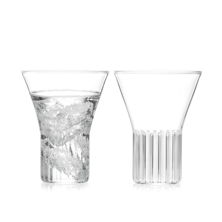 Hand-Crafted EU Clients Set of Two Czech Clear Contemporary Rila Medium Glasses, in Stock For Sale
