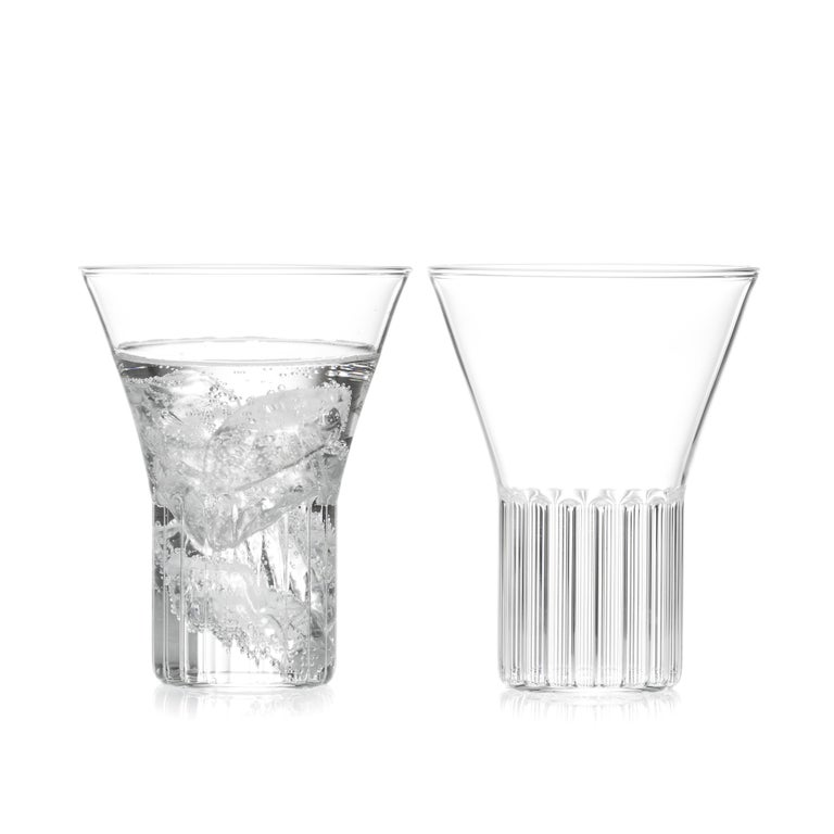 Rila medium glasses, set of two.  Inspired by the Rila Monestary, the clear Czech contemporary Rila collection is a series of glassware ideal for beverages from wine and water to martinis and other beverages. Modern and strikingly simple in form,