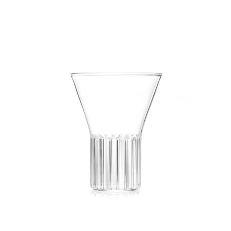 Modern Set of Two Handcrafted Czech Clear Contemporary Rila Medium Glasses, in Stock For Sale