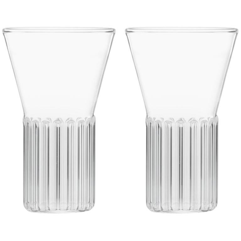 EU Clients Set of 2 Handcrafted Czech Contemporary Rila Small Glasses, in Stock For Sale