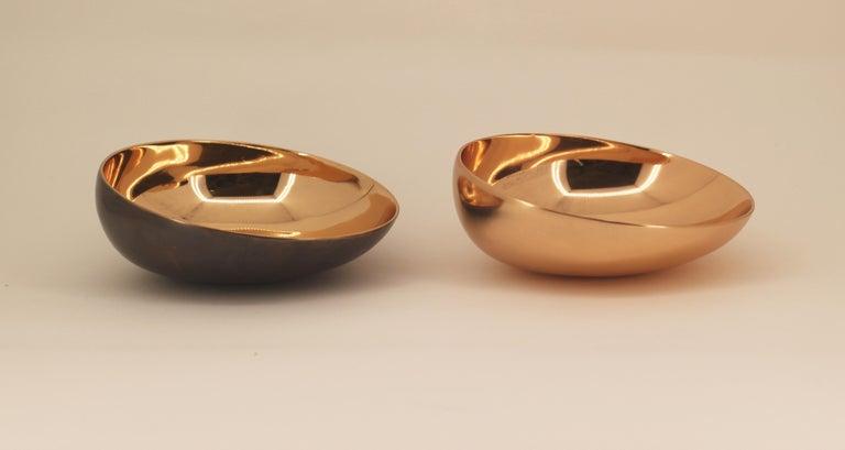 Organic Modern Set of Two Handmade Cast Bronze Indian Bowl, Vide-Poche For Sale