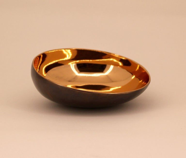 Contemporary Set of Two Handmade Cast Bronze Indian Bowl, Vide-Poche For Sale