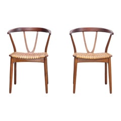 Set of Two Henning Kjaernulf Model 225 Chairs for Bruno Hansen in Teak with Cane