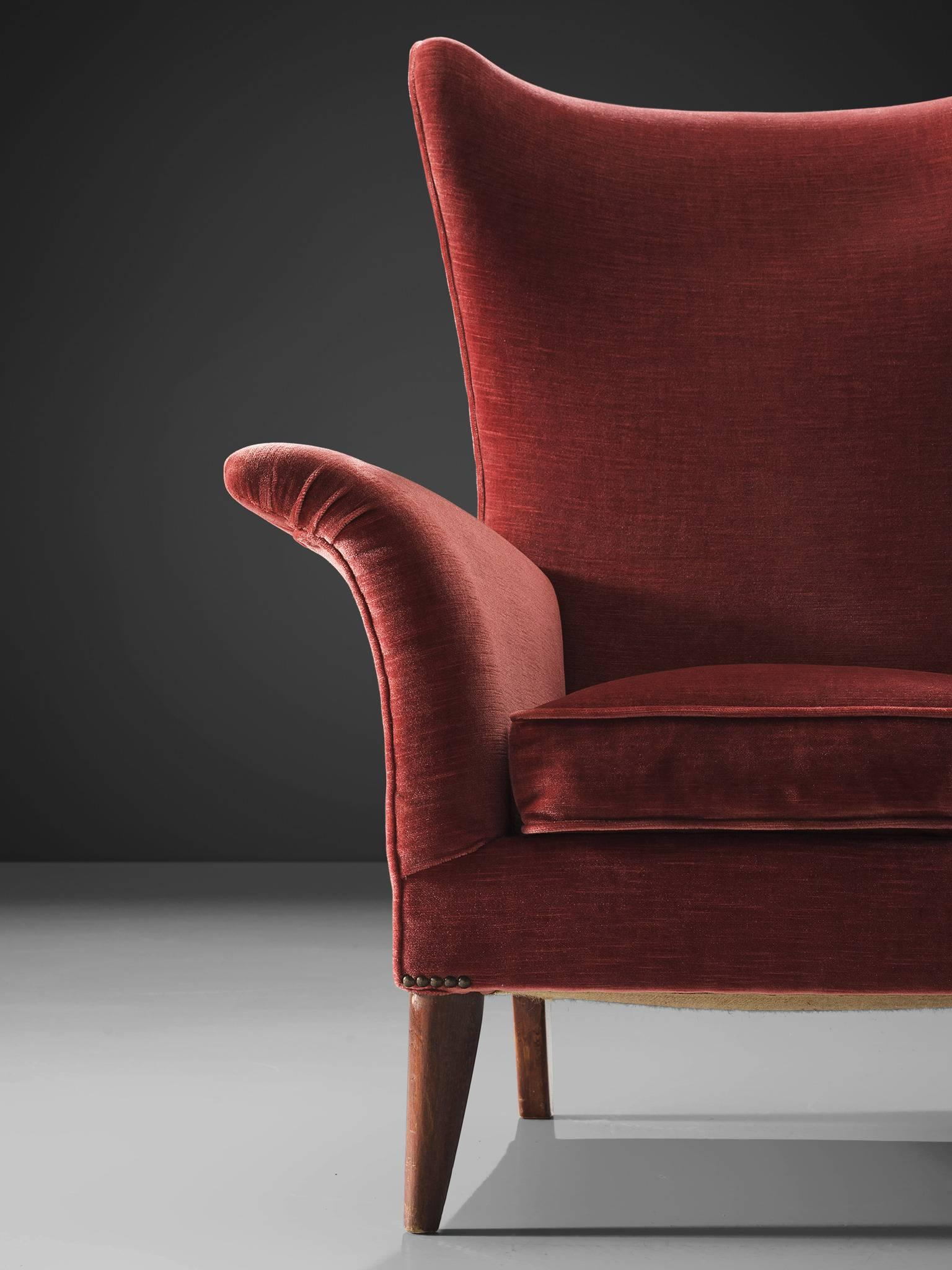 Set Of Two High Wingback Chairs In Raspberry Pink Velvet
