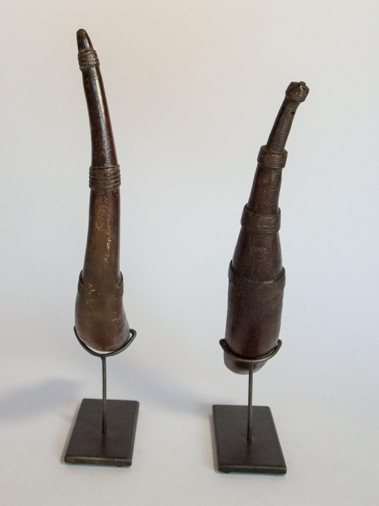Tribal Set of Two Horn Spoons from the Sidamo of Ethiopia, Mounted, Mid-20th Century For Sale