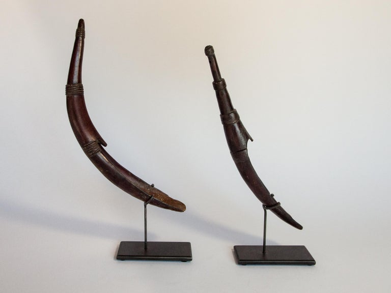 Ethiopian Set of Two Horn Spoons from the Sidamo of Ethiopia, Mounted, Mid-20th Century For Sale