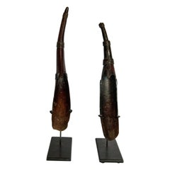 Set of Two Horn Spoons from the Sidamo of Ethiopia, Mounted, Mid-20th Century