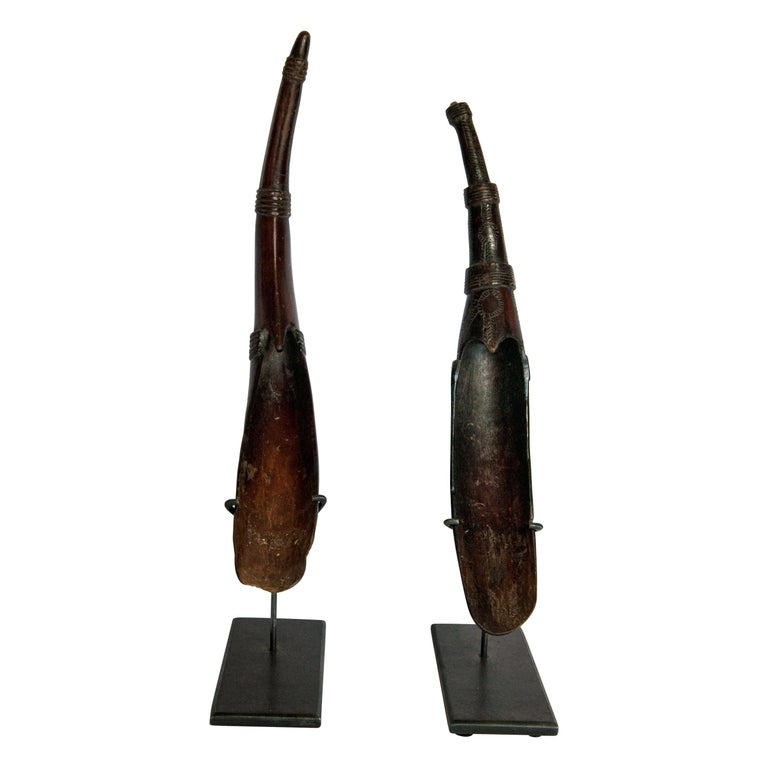 Set of Two Horn Spoons from the Sidamo of Ethiopia, Mounted, Mid-20th Century For Sale