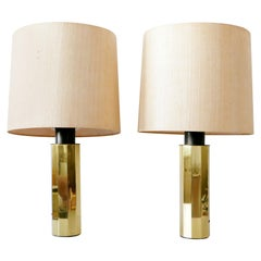 Set of Two Huge, 5-Flamed Midcentury Decagonal Brass Table Lamps, 1960s, Germany