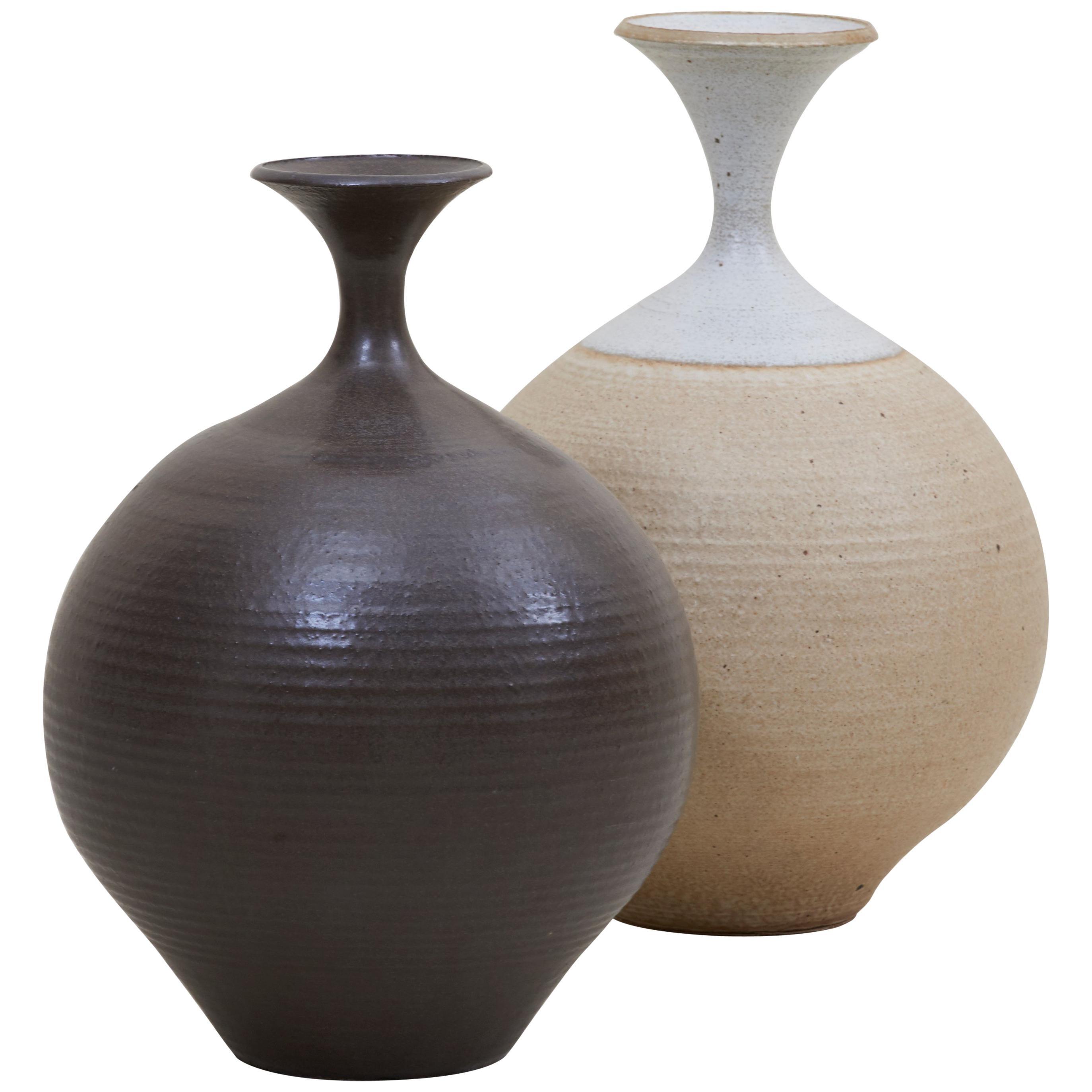 Set of Two Huge Bob Kinzie Stoneware Studio Pottery Vases, US, 1970s