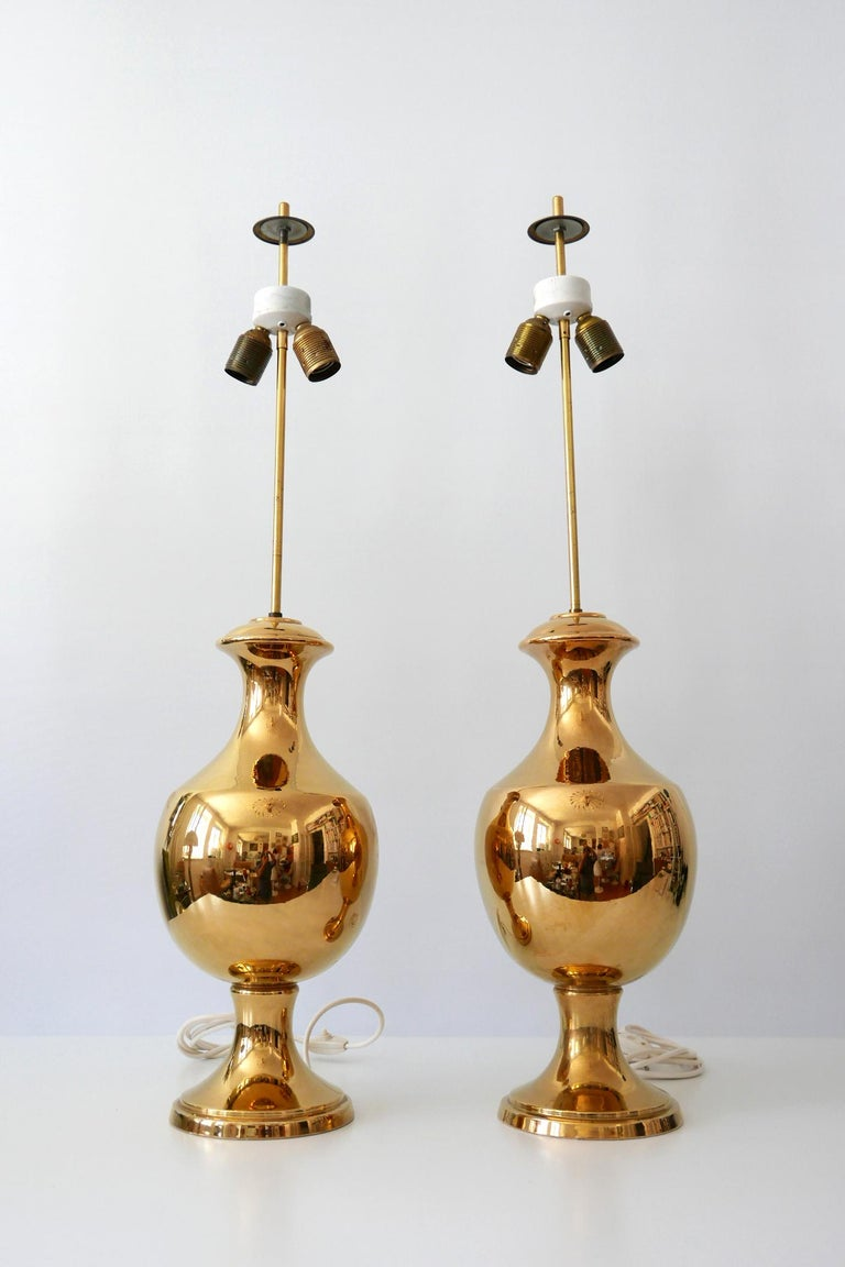 Set of two huge and amazing Mid-Century Modern gold glazed ceramic table lamps by Behreno, Firenze, 1960s, Italy.