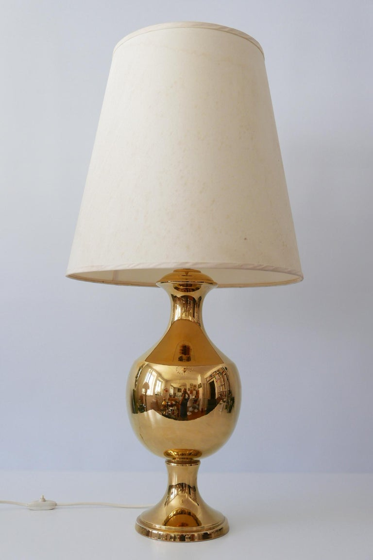 Mid-Century Modern Set of Two Huge Gold Glazed Ceramic Table Lamps by Behreno Firenze 1960s Italy For Sale