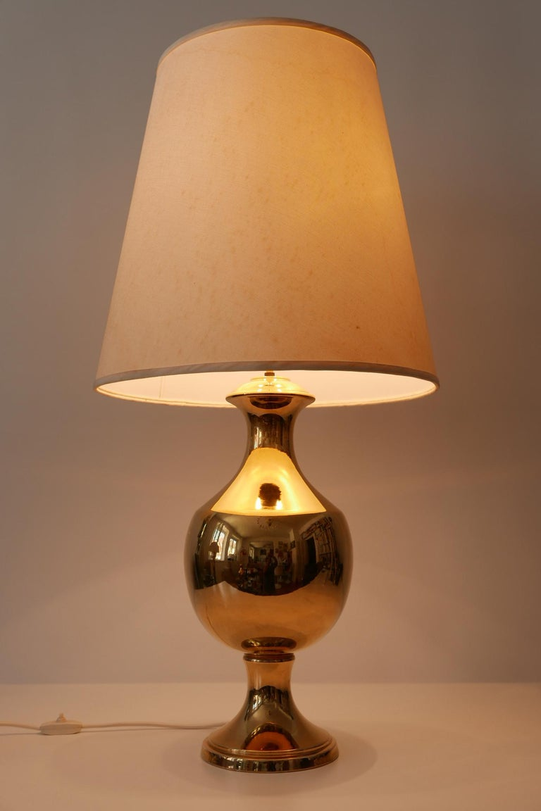 Italian Set of Two Huge Gold Glazed Ceramic Table Lamps by Behreno Firenze 1960s Italy For Sale