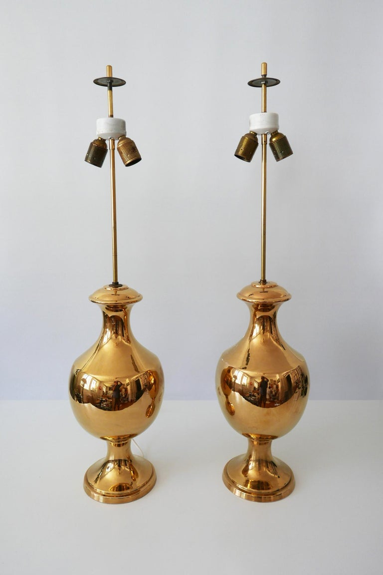 Set of Two Huge Gold Glazed Ceramic Table Lamps by Behreno Firenze 1960s Italy In Good Condition For Sale In Munich, DE