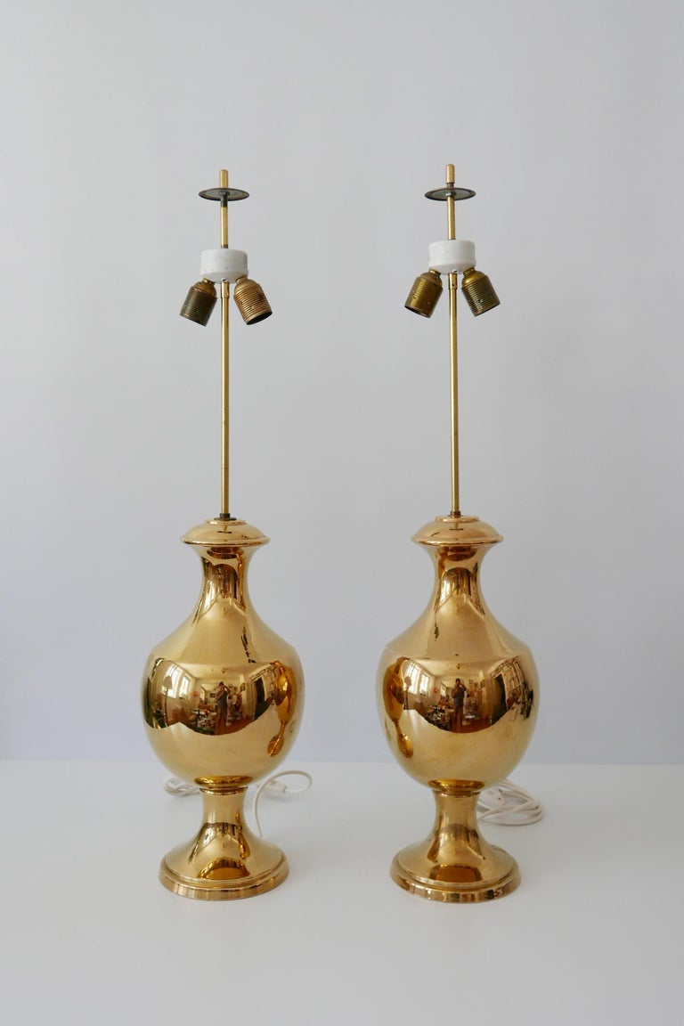 Mid-20th Century Set of Two Huge Gold Glazed Ceramic Table Lamps by Behreno Firenze 1960s Italy For Sale