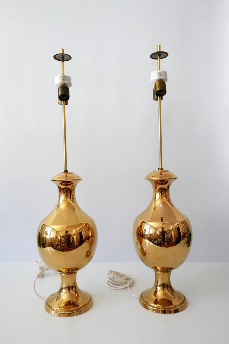 Set of Two Huge Gold Glazed Ceramic Table Lamps by Behreno Firenze 1960s Italy For Sale 1