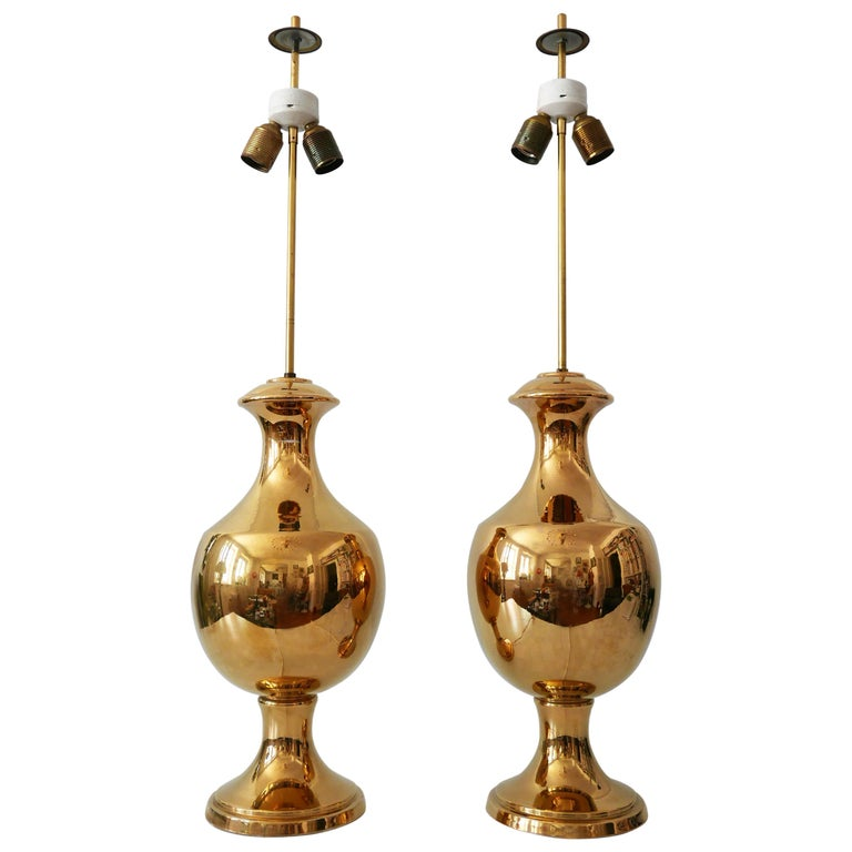 Set of Two Huge Gold Glazed Ceramic Table Lamps by Behreno Firenze 1960s Italy For Sale