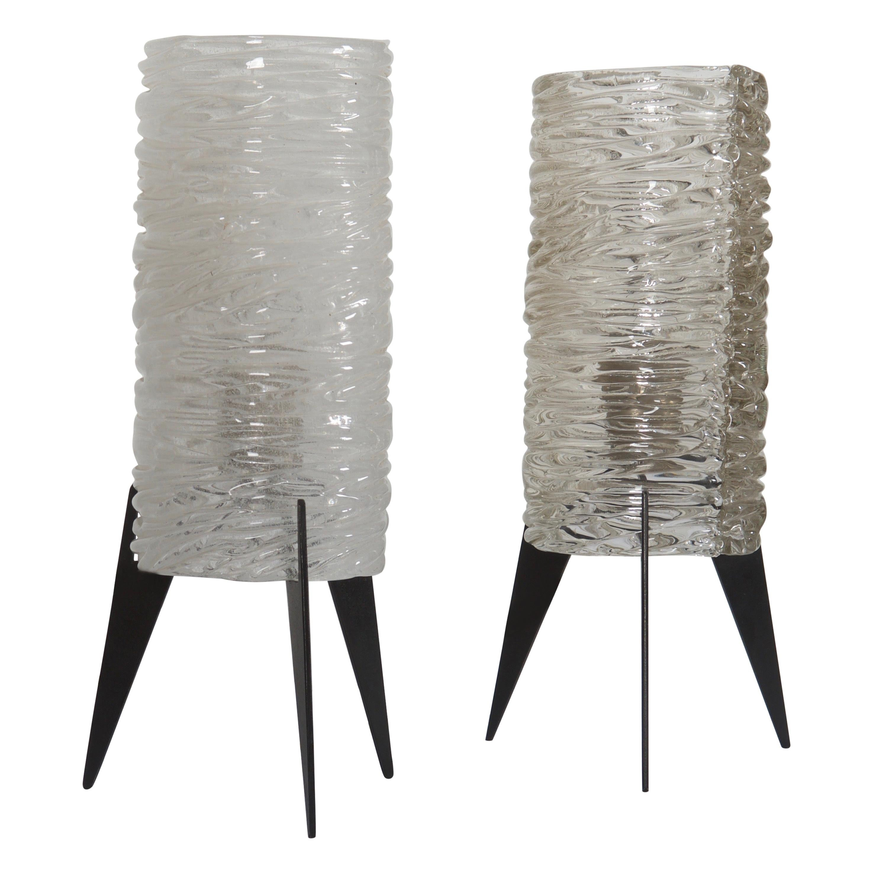 """Set of Two Ice Glass Table Lamp by """"Kalmar"""" Vienna"""