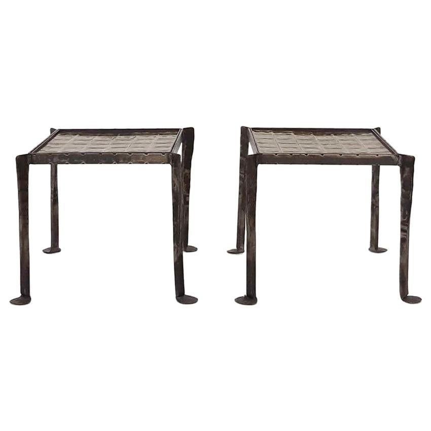 Set of Two Iron Side Tables with Tile Top