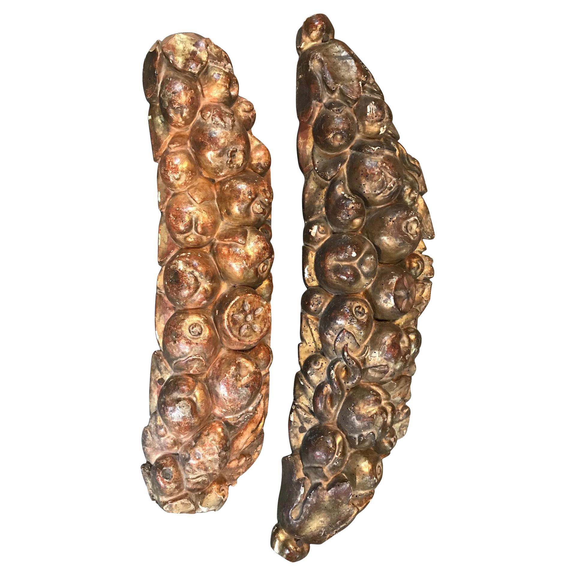 Set of Two Italian 17th Century Giltwood Fragments