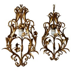 Set of Two Italian, 1950s Gilt-Tole Foliate Chandeliers