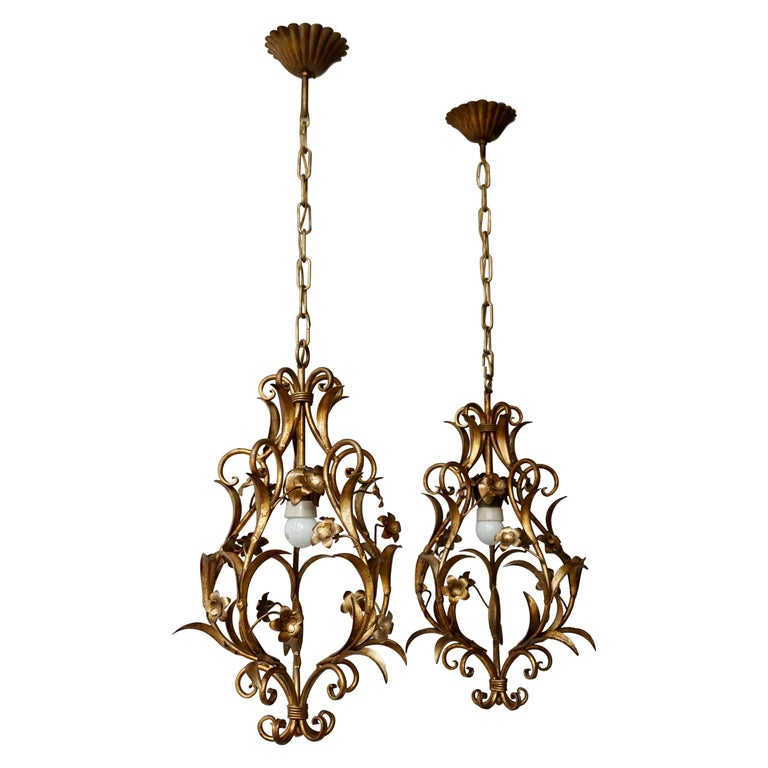 Set of Two Italian, 1950s Gilt-Tole Foliate Chandeliers For Sale