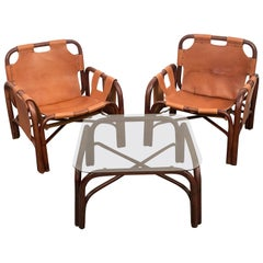Set of Two Italian Armchairs and Table Bamboo and Leather, Italy, 1960s