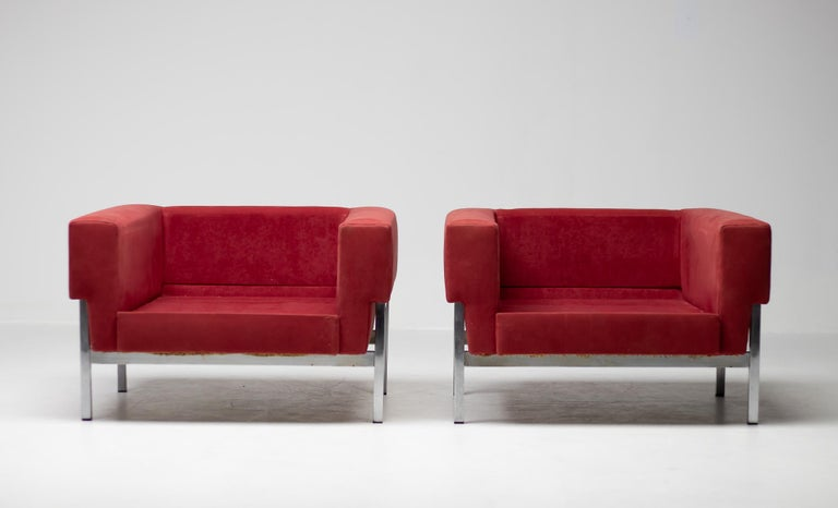 Set of Two Italian Armchairs by Saporiti For Sale 2