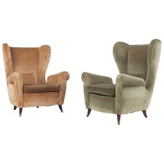Set of Two Italian Armchairs in Original Upholstery of Brown and Green, 1950s