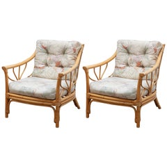 Set of Two Italian Bamboo Lounge Chairs, 1970s