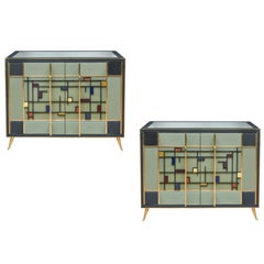 Set of Two Italian Buffets in Tinted Glass