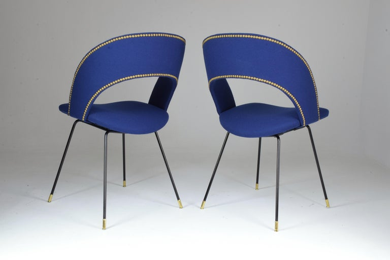 Mid-Century Modern Set of Two Italian Chairs by Gastone Rinaldi for Rima, 1950s For Sale