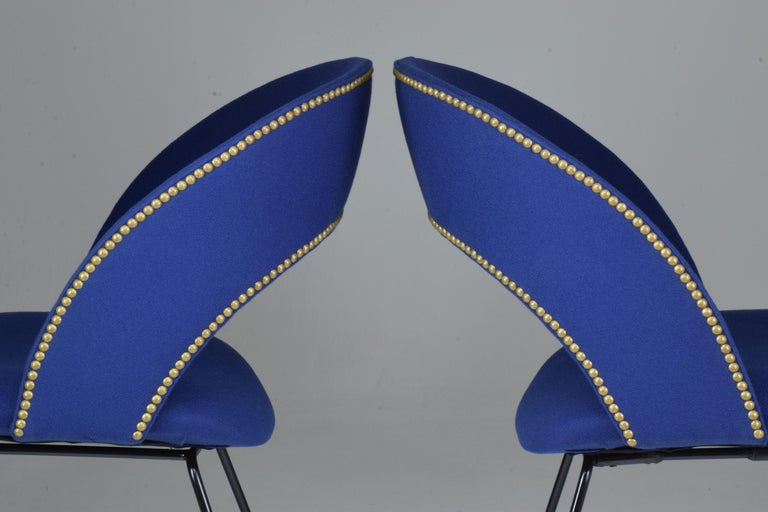 Brass Set of Two Italian Chairs by Gastone Rinaldi for Rima, 1950s For Sale