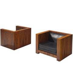 Set of Two Italian Chairs in Leather and Rosewood