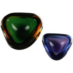 Set of Two Italian Glass Bowls, Green Amber and Purple and Clear, Italy 1960