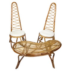 Set of Two Italian Mid-Century Italian High Back Rattan Chairs and Table, 1960s