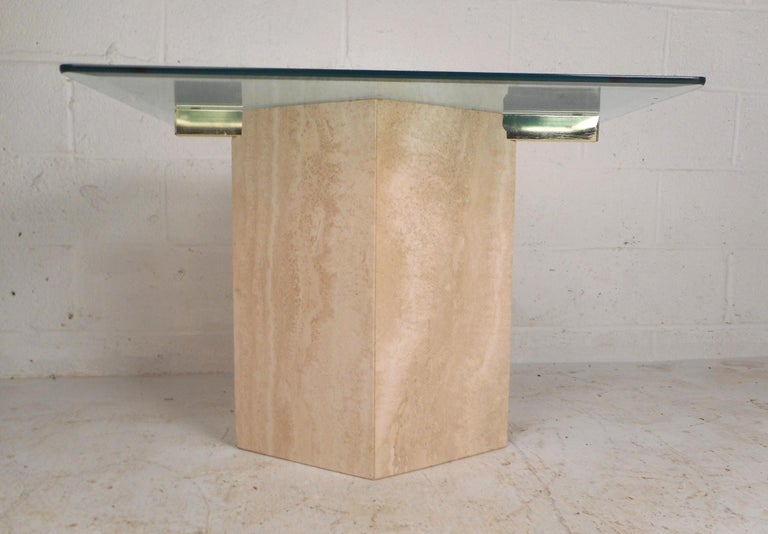 Brass Set of Two Italian Mid-Century Modern Marble Base Artedi Tables For Sale
