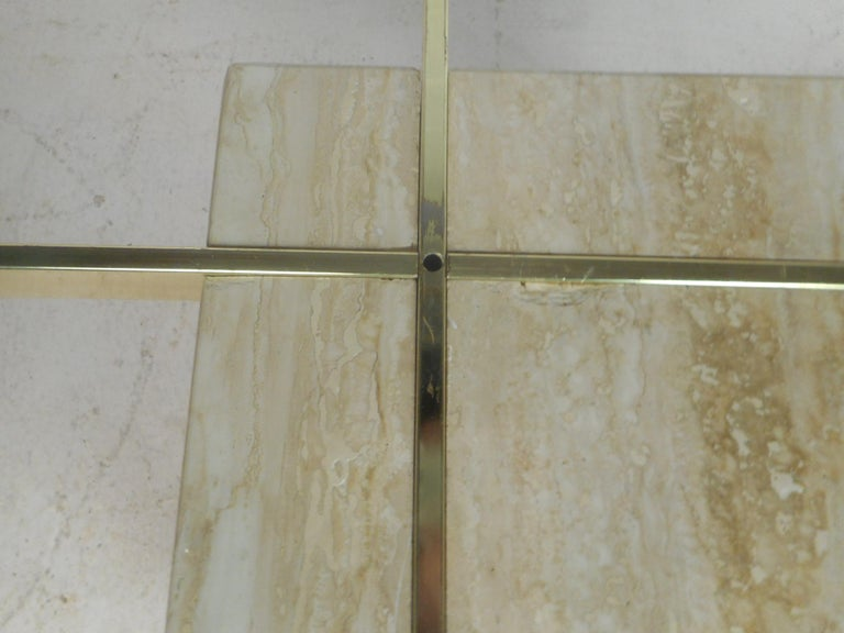 Set of Two Italian Mid-Century Modern Marble Base Artedi Tables For Sale 4