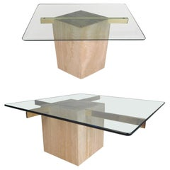 Set of Two Italian Mid-Century Modern Marble Base Artedi Tables