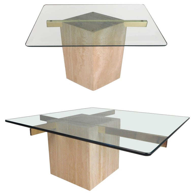 Set of Two Italian Mid-Century Modern Marble Base Artedi Tables For Sale