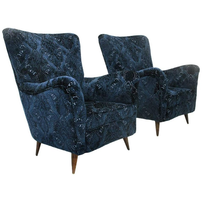 Set Of Two Italian Midcentury Blue Armchairs 1950s For Sale At 1stdibs