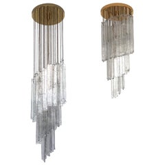 Set of two Italian Midcentury Clear Mazzega Murano Glass Chandeliers, 1970s