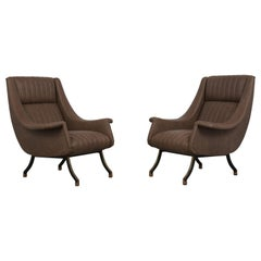 Pair of Mid Century Modern Italian Brown Leather Lounge Chairs